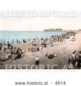 Historical Photochrom of People on the Beach in Morecambe, Lancashire, England, United Kingdom by Al