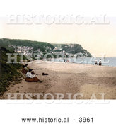 Historical Photochrom of People on the Beach in Runswick Whitby North Yorkshire England UK by Al