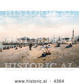 Historical Photochrom of People on the Beach near the Esplanade Hotel in Southsea, Portsmouth, Hampsire, England, UK by Al