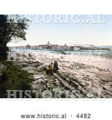 Historical Photochrom of People on the Beach near the Pier in New Brighton, Liverpool, Merseyside, England by Al