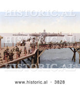 Historical Photochrom of People on the Busy Margate Jetty in Margate Thanet Kent England UK by Al