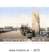 Historical Photochrom of People on the Pier in Lowestoft, Suffolk, East Anglia, England, United Kingdom by Al