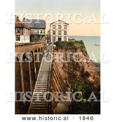 Historical Photochrom of People on the Staircase at Heligoland, Germany by Al