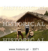 Historical Photochrom of People Outside a House in Champery, Switzerland by Al