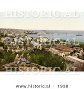 Historical Photochrom of People Overlooking the Harbor at Beyrout, Lebanon by Al