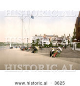 Historical Photochrom of People Sitting on Benches near the Marine Hotel in Cowes Isle of Wight England UK by Al