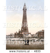 Historical Photochrom of People Strolling on the Beach near the Blackpool Tower in Blackpool, Lancashire, England by Al