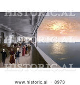 Historical Photochrom of People Strolling on the Promenade Deck of a Steamship at Sunset by Al