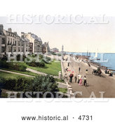 Historical Photochrom of People Strolling the Beachfront Promenade in Herne Bay Kent England by Al