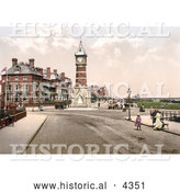 Historical Photochrom of People Strolling the Promenade near the Clock Tower in Skegness, East Lindsey, Lincolnshire, England, United Kingdom by Al