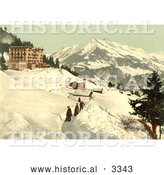 Historical Photochrom of People Walking in a Snow Path, Leysin, Switzerland by Al