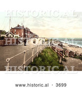 Historical Photochrom of People Walking on the Parade Promenade near the Coast Guard Station in Southwell England by Al