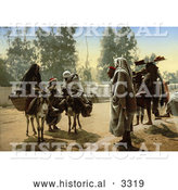 Historical Photochrom of People with Pack Mules at Bab Aleona, Tunis, Tunisia by Al