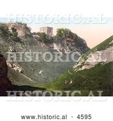 Historical Photochrom of Peveril Castle Ruins on the Hilltop in Castleton Derbyshire England by Al