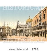 Historical Photochrom of Piazzetta Di San Marco by Al