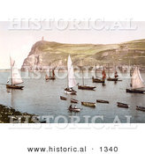 Historical Photochrom of Port Erin, Isle of Man, England by Al