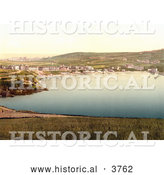 Historical Photochrom of Port Erin with Waterfront Buildings and Sailboats Isle of Man England by Al