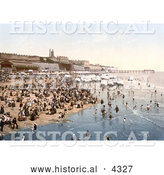 Historical Photochrom of Portable Changing Cabin Carts and Crowds on the Beach in Ramsgate, Thanet, Kent, England by Al