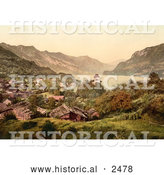 Historical Photochrom of Ringgenberg on the Shore of Brienz Lake by Al