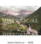 Historical Photochrom of Rosengarten and St. Cyprian, Tyrol, Austria by Al