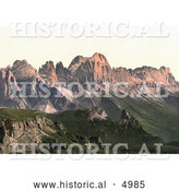 Historical Photochrom of Rosengarten Mountain Group, Tyrol, Austria by Al