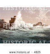 Historical Photochrom of Rough Sea Waves from a Storm Crashing up Against Seafront Buildings, Bognor, England by Al