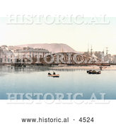 Historical Photochrom of Rowboats by the Stanley Hotel and Iron Bridge in Ramsey, Isle of Man, England by Al