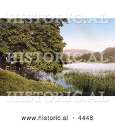 Historical Photochrom of Rydal Water Lake in the Lake District of Cumbria England UK by Al