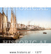 Historical Photochrom of Sail Ships in the Harbor, Hafenstrasse, Copenhagen, Denmark by Al