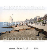 Historical Photochrom of Sailboats Along the Promenade in Herne Bay Kent England by Al