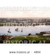 Historical Photochrom of Sailboats and Steamships at the Dockyard on the River Medway in Chatham, Kent, England, UK by Al