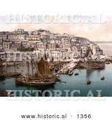 Historical Photochrom of Sailboats at Brixham, Devon, England, United Kingdom by Al