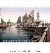 Historical Photochrom of Sailboats at the Pier in Lowestoft, Suffolk, East Anglia, England, United Kingdom by Al