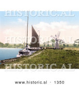 Historical Photochrom of Sailboats by a Windmill at Horning Village Norfolk England by Al