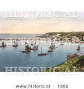 Historical Photochrom of Sailboats in the Harbour at Brixham, Devon, England, United Kingdom by Al