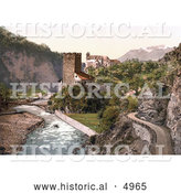 Historical Photochrom of Sarntal, Ried and Runkelstein, Tyrol, Austria by Al