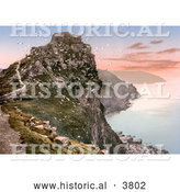 Historical Photochrom of Seagulls Flying Around Castle Rock over the Bay at Sunset in the Valley of Rocks Exmoor Lynton and Lynmouth Devon England UK by Al