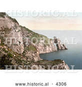 Historical Photochrom of Seagulls Flying near the Natural Arch on the Coast in Torquay, Devon, England, United Kingdom by Al