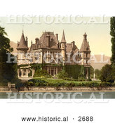 Historical Photochrom of Shadau Castle on Lake Thun, Switzerland by Al