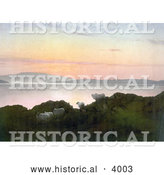 Historical Photochrom of Sheep on a Cliff Above a Lake at Sunset in England by Al