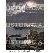 Historical Photochrom of Ships in the Algiers Harbor at Night, Algeria by Al