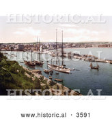 Historical Photochrom of Ships in the Harbor at Weymouth Dorset England UK by Al