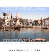 Historical Photochrom of Ships in the Harbor, Copenhagen, Denmark by Al