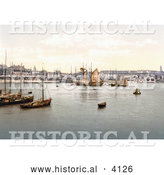 Historical Photochrom of Ships in the Harbour in Ramsgate Thanet Kent England UK by Al