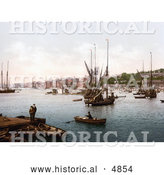 Historical Photochrom of Ships on the River Medway in Chatham, Kent, England, United Kingdom by Al