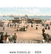 Historical Photochrom of Ships on the Water near the Jetty in Yarmouth Norfolk England UK by Al