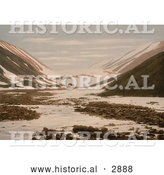 Historical Photochrom of Snebrae at Advent Bay, Spitzbergen, Norway by Al