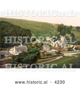 Historical Photochrom of St Laurence's Church in the Village of Upwey Dorset England by Al