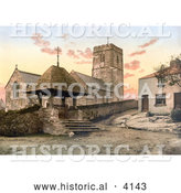 Historical Photochrom of St Mary's Church in Morthoe Devon England by Al
