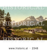Historical Photochrom of St. Moritz in Engadine, Grisons, Switzerland by Al